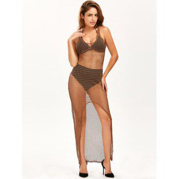 High Slit See Through Maxi Fishnet Dress - KHAKI KHAKI