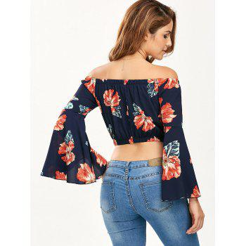 Floral Print Off The Shoulder Crop Top - PURPLISH BLUE L