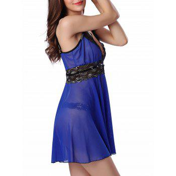 Rhinestone Mesh Sheer Slip Lingerie Dress - BLUE S