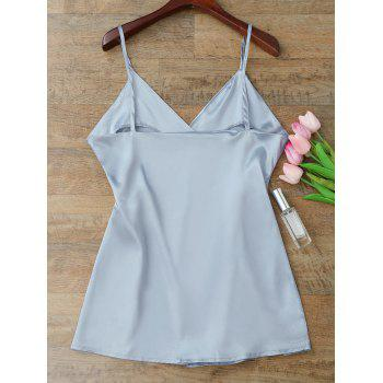 Silky Cami Wrap Slip Dress - BLUE GRAY L