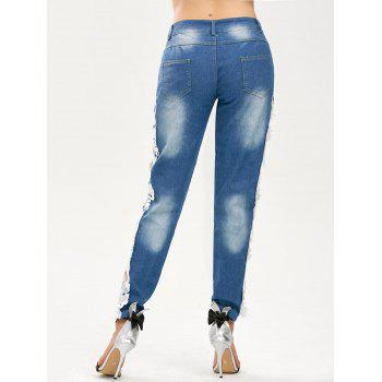 Hollow Out Lace Panel Jeans - BLUE/WHITE BLUE/WHITE