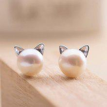 Faux Pearl Kitten Tiny Stud Earrings