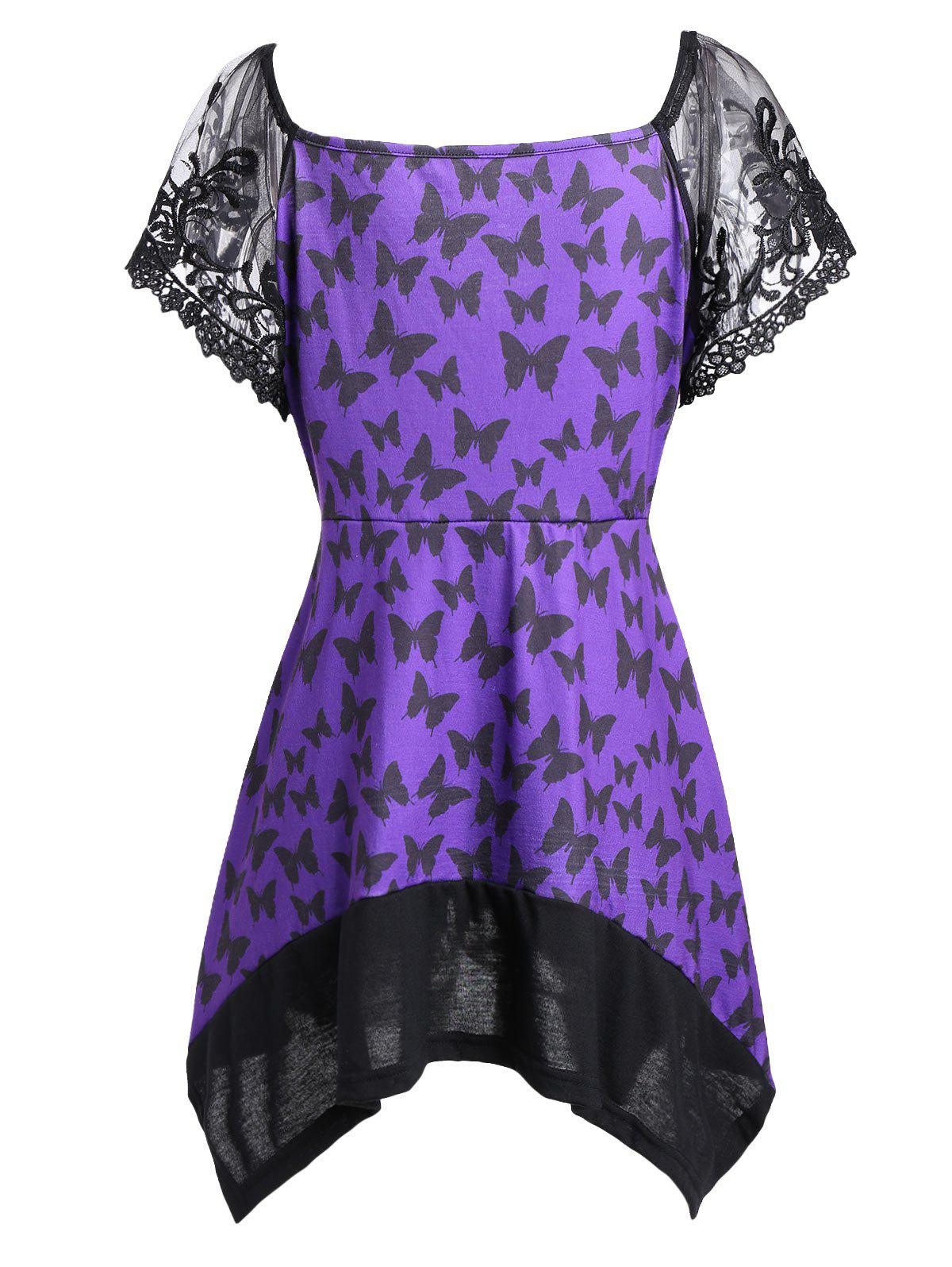 Asymmetric Mesh Trim Butterfly Print Plus Size Top - PURPLE 2XL