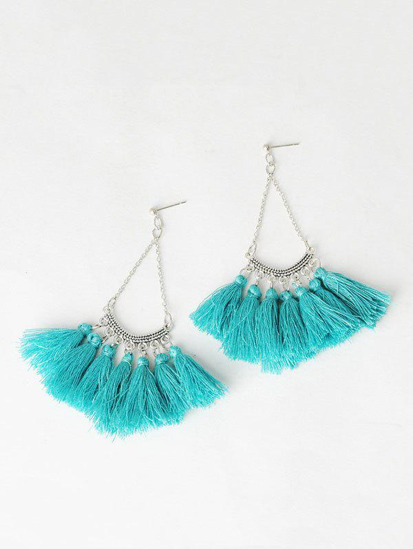 цены Fan-Shaped Tassel Chain Drop Earrings