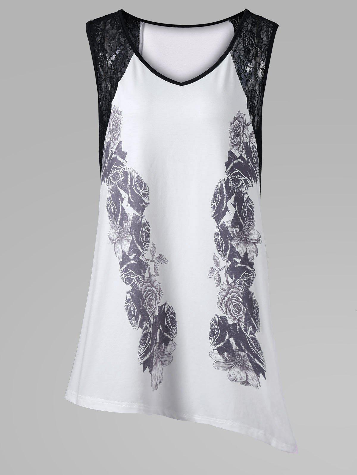Plus Size Lace Insert Asymmetric Sleeveless T-Shirt - WHITE 3XL