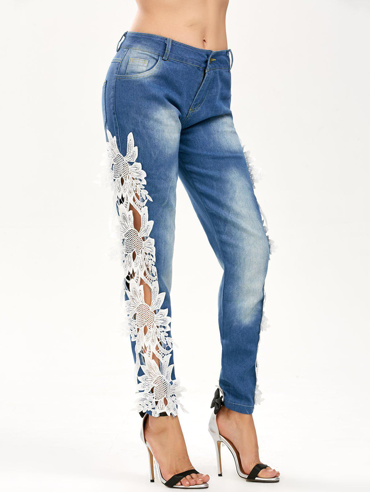 Hollow Out Lace Panel Jeans - BLUE/WHITE XL
