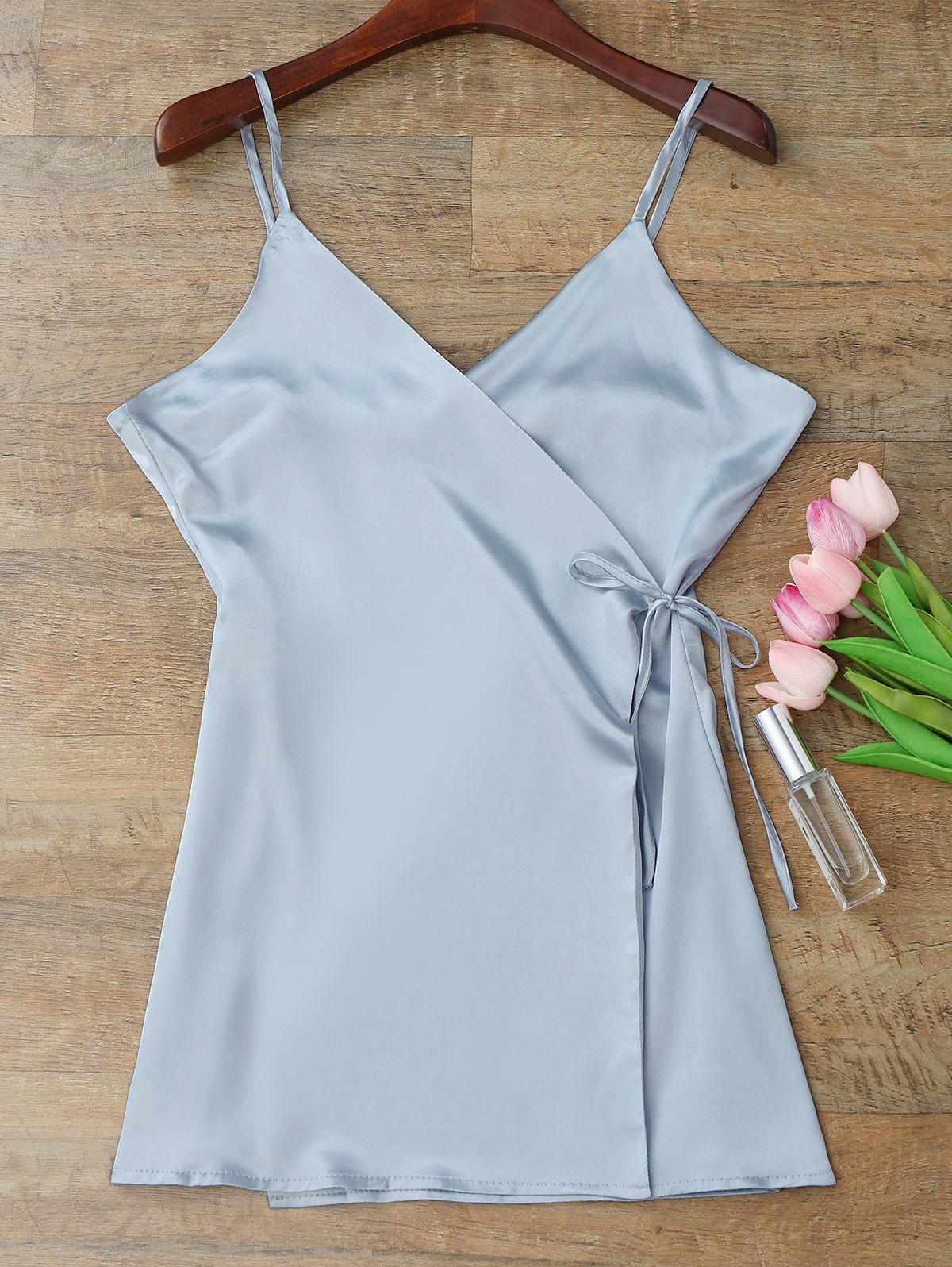 Silky Cami Wrap Slip Dress - BLUE GRAY M
