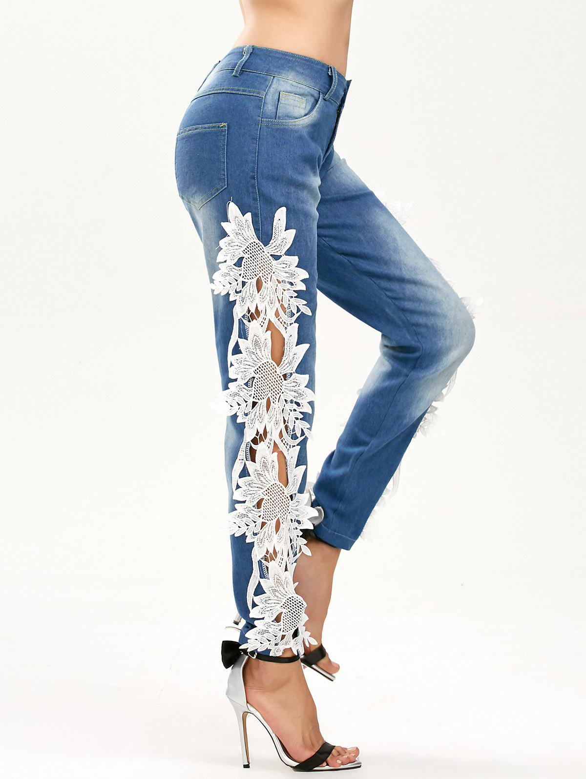 Hollow Out Lace Panel Jeans - BLUE/WHITE M