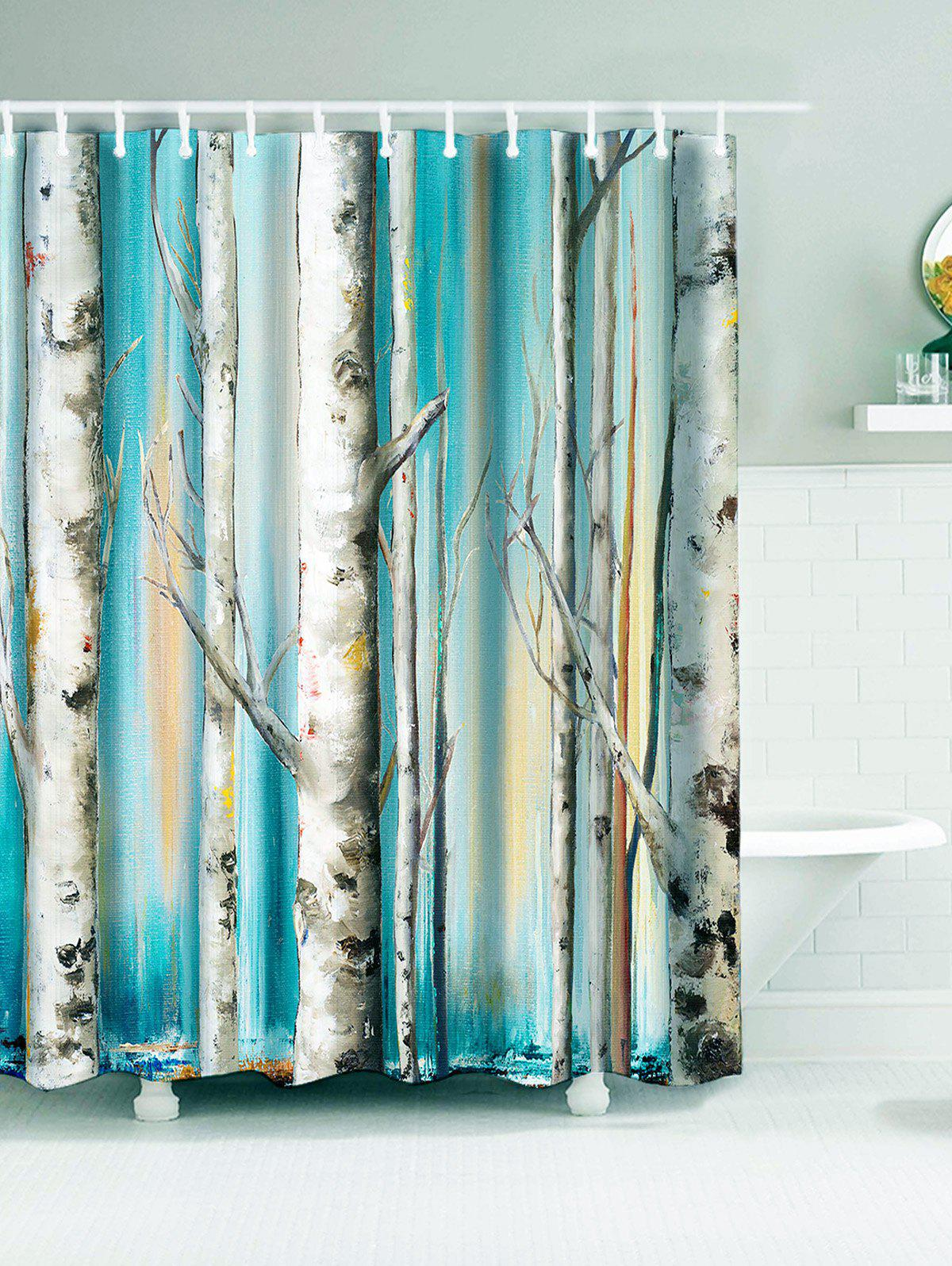 Winterly Forest Print Bathroom Waterproof Shower Curtain sunlight forest print waterproof bathroom shower curtain