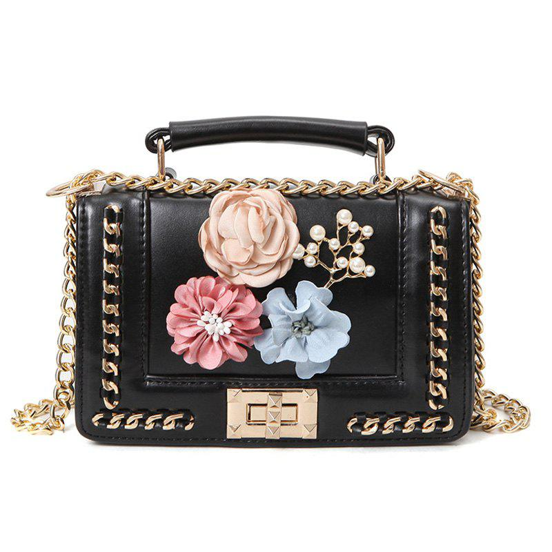 Flowers Bead Chain Crossbody Bag - BLACK