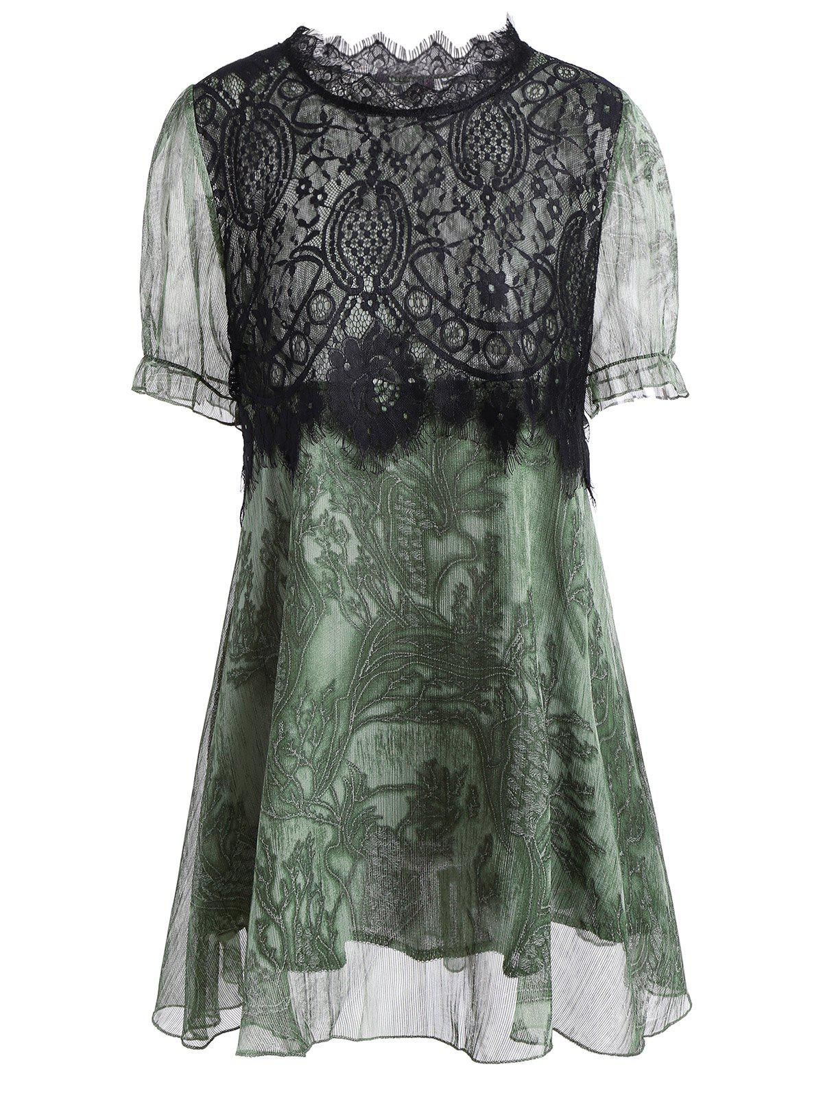 Lace Panel A Line Plus Size Mini Dress - GREEN 4XL