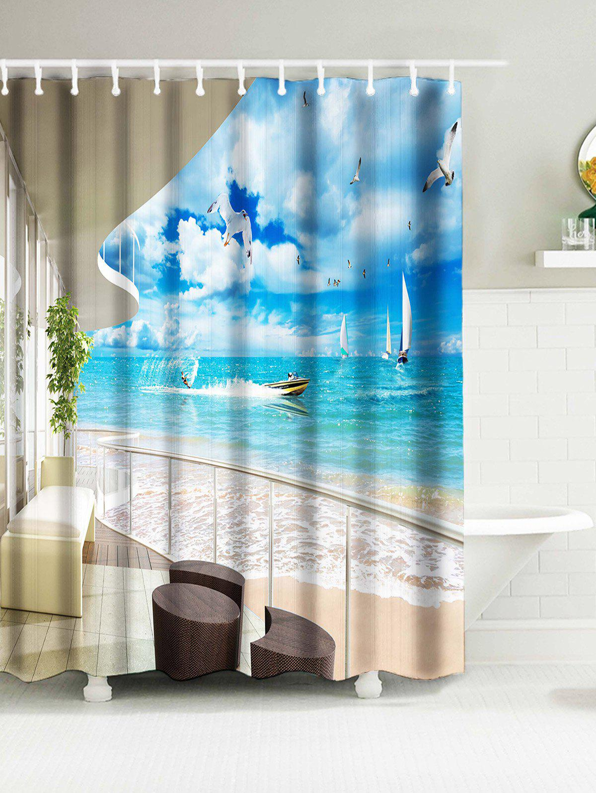 Surfing Print Water Resistant Nautical Shower Curtain Sky Blue W Inch L Inch In Shower