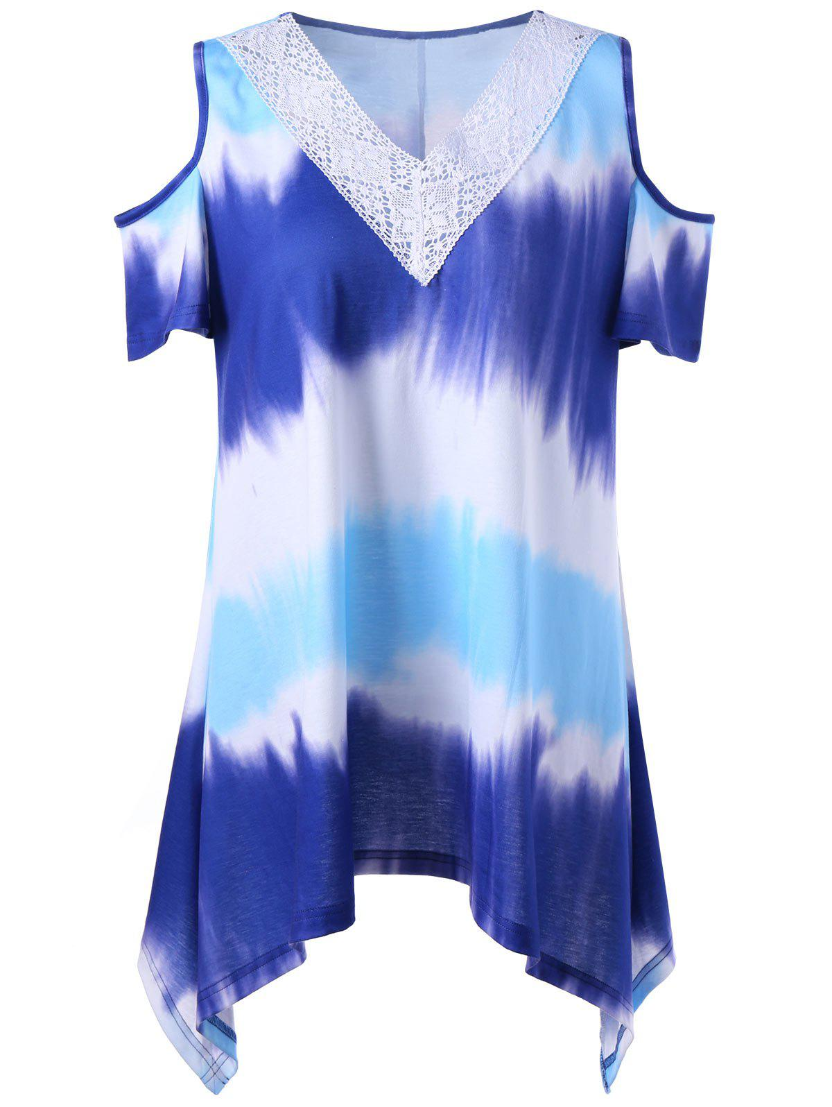 Plus Size Asymmetrical Tie Dye Cold Shoulder T-Shirt - COLORMIX 2XL