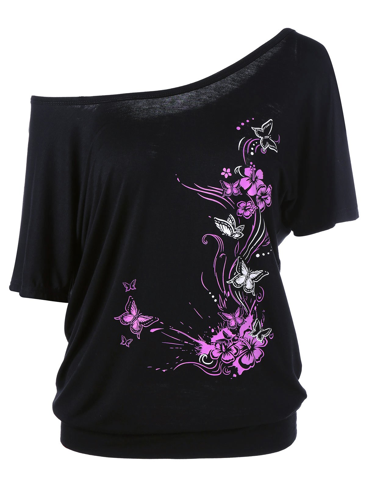 Butterfly and Floral Skew Collar T-Shirt - BLACK XL
