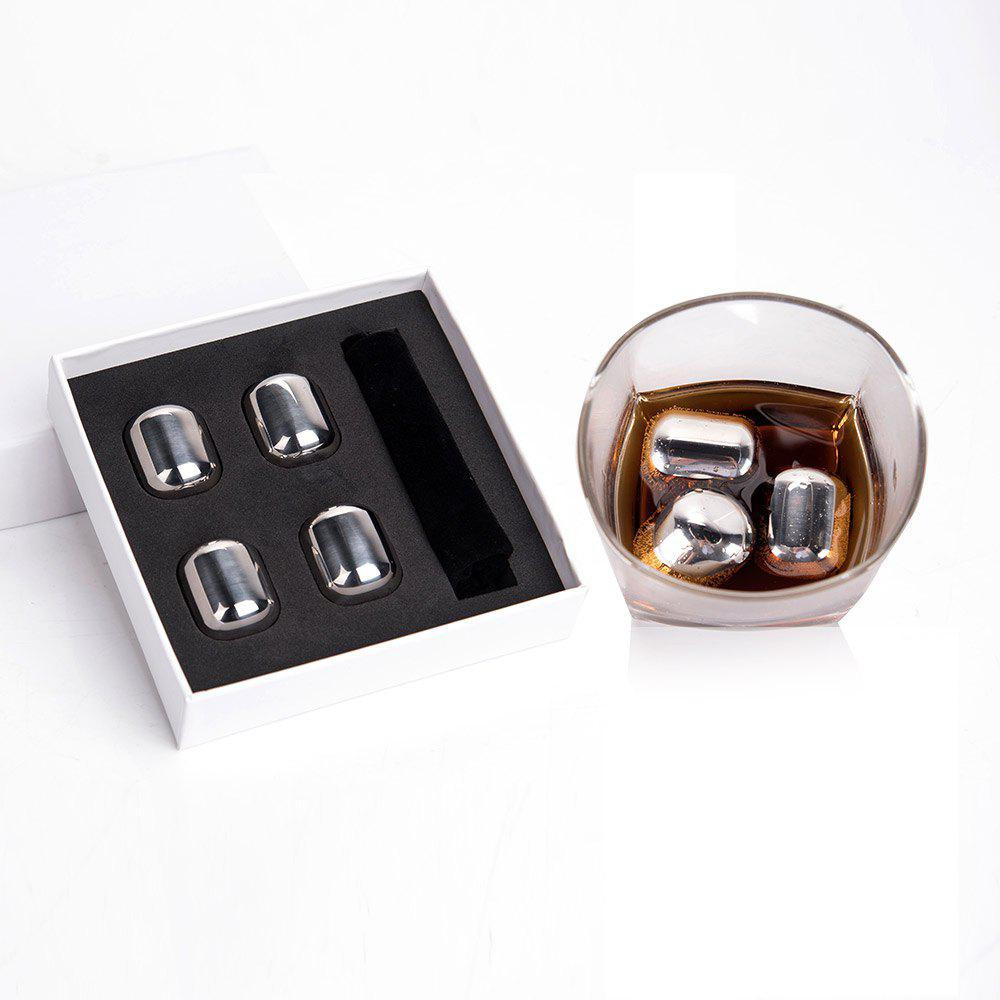 Stainless Steel Whisky Chilling Stone 4 PCS Oval Ice Cubes - STAINLESS STEEL