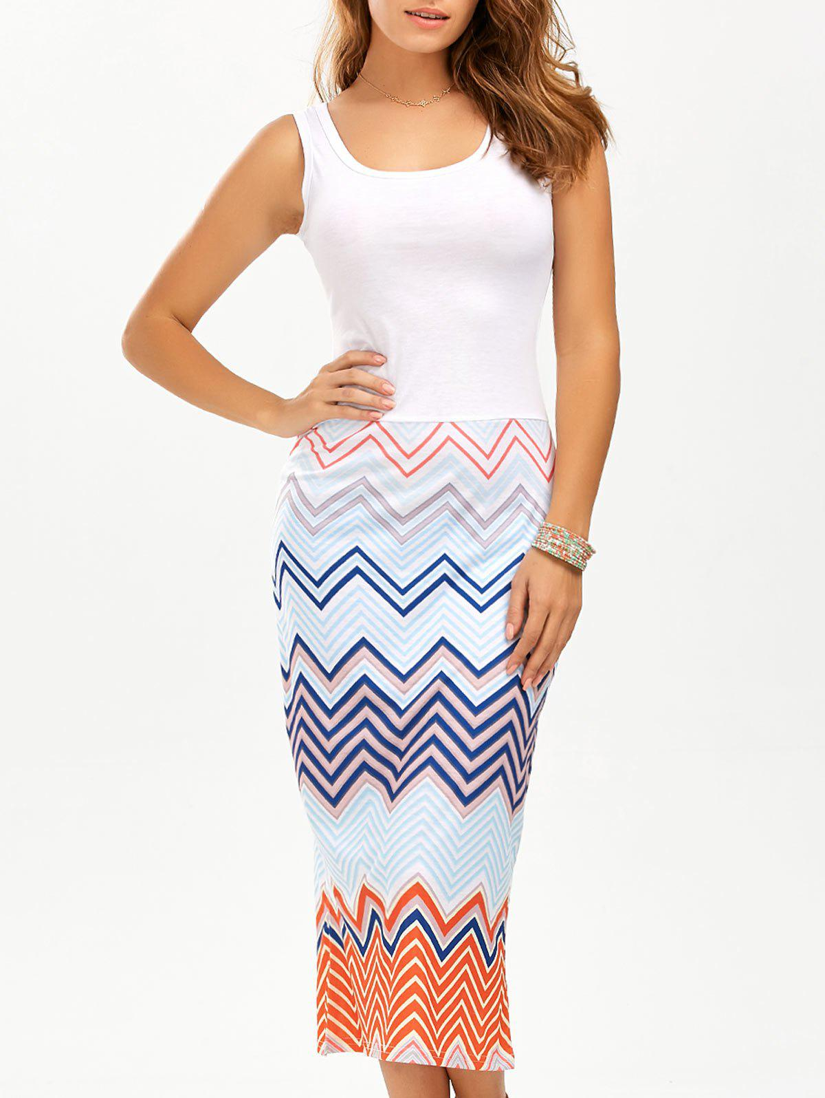 Zigzag Midi Tank Dress - WHITE L