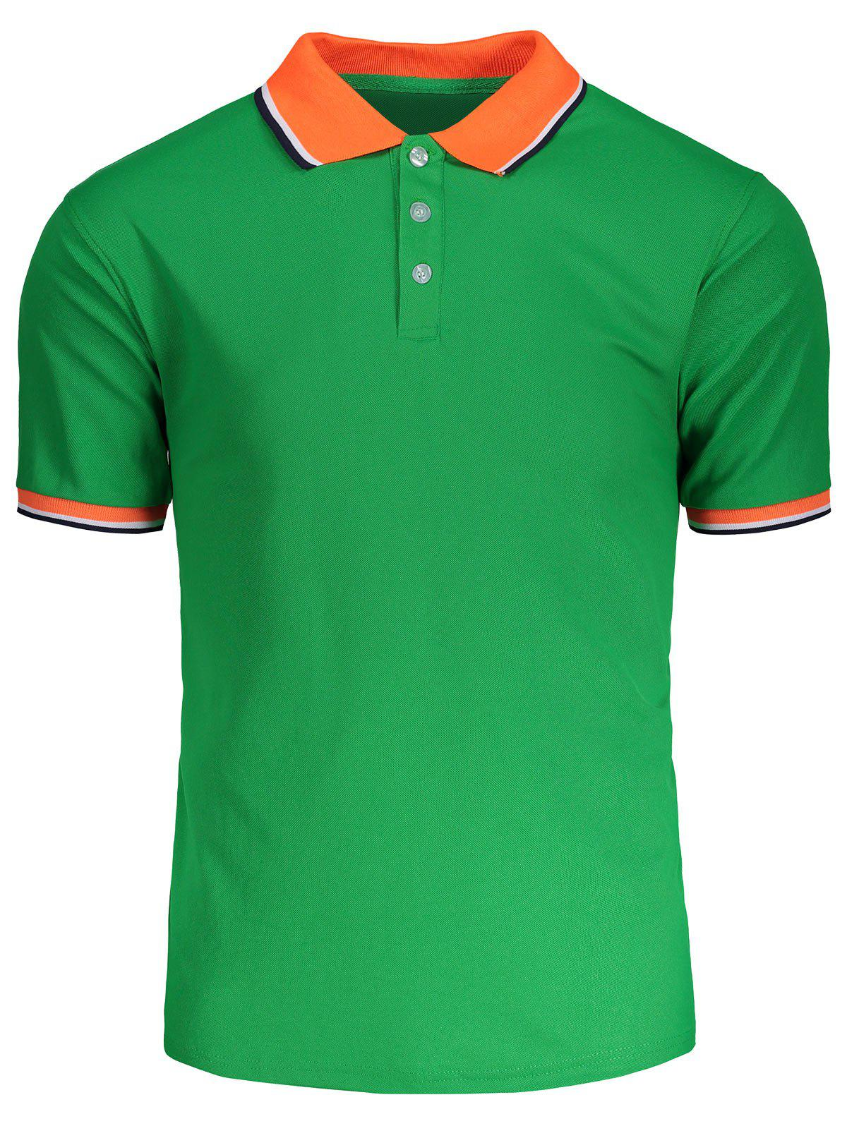 Turndown collar color block polo shirt green xl in t for Polo color block shirt