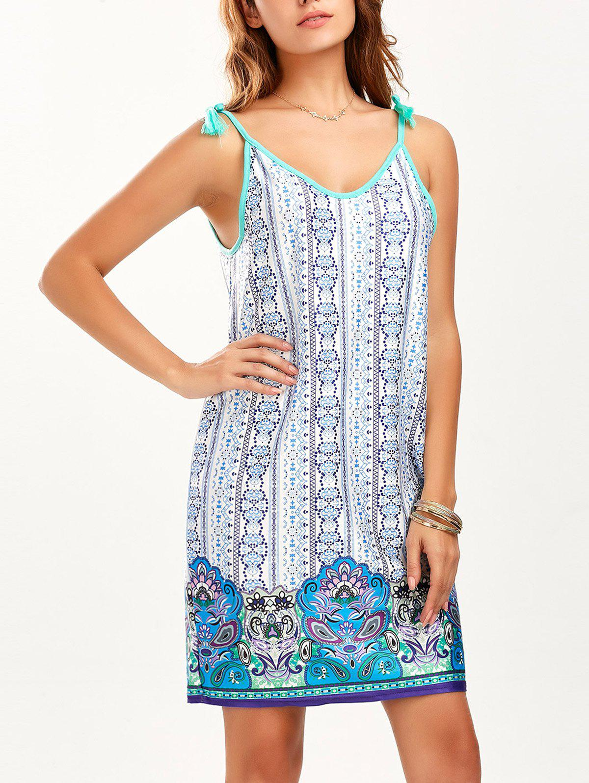 Tassel Printed Mini Summer Dress - BLUE S
