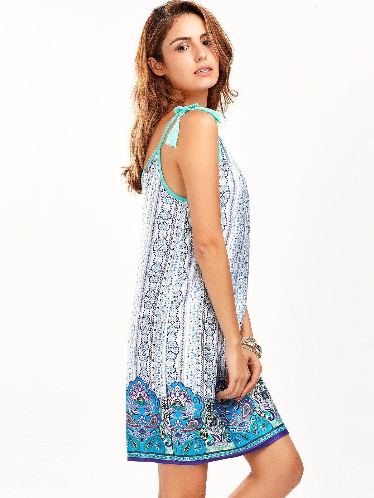 Tassel Printed Mini Summer Dress - BLUE M