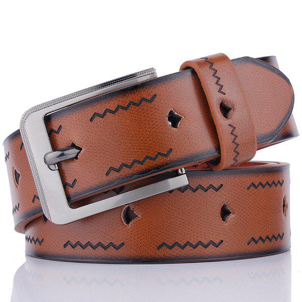Pin Buckle Wavy Line Embossing Faux Leather Belt - COFFEE