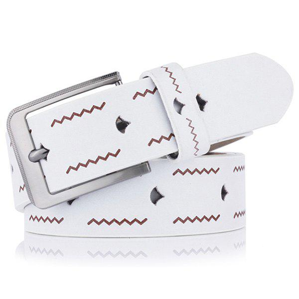 Pin Buckle Wavy Line Embossing Faux Leather Belt - WHITE