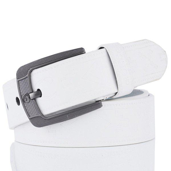 Pin Buckle Faux Leather Retro Embossing Belt - WHITE