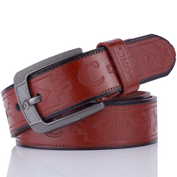 Pin Buckle Faux Leather Retro Embossing Belt - COFFEE