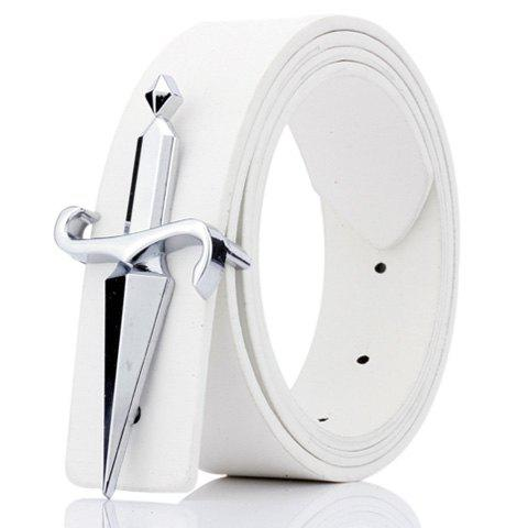 Tapered Crucifixion Artificial Leather Plate Buckle Belt - WHITE