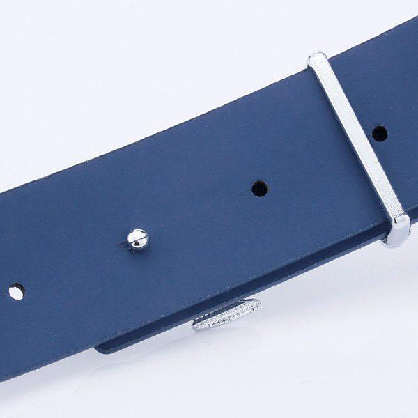 Faux Leather Plate Buckle Anchor Shape Belt - BLUE