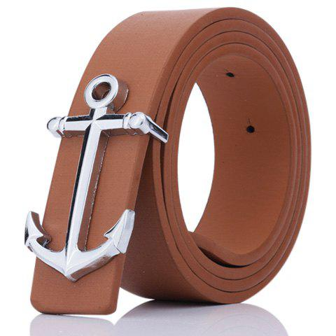 Faux Leather Plate Buckle Anchor Shape Belt - BROWN