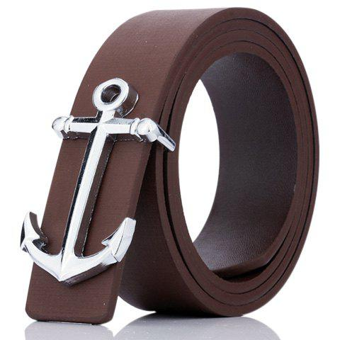Faux Leather Plate Buckle Anchor Shape Belt - COFFEE