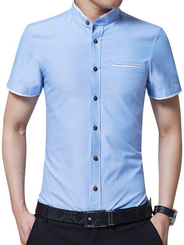 Mandarin Collar Two Tone Shirt mandarin collar two tone shirt