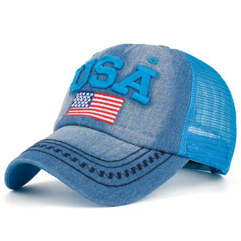 USA Flag Embroidered Mesh Spliced Baseball Hat - BLUE