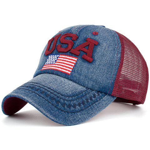 USA Flag Embroidered Mesh Spliced Baseball Hat - RED