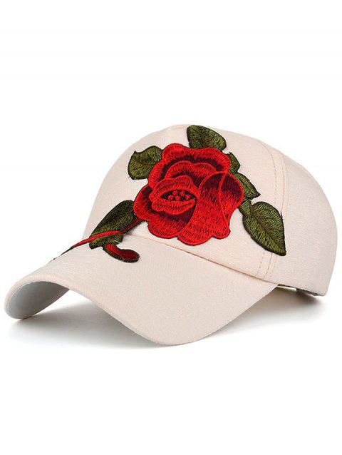 Showy Peony Embroidery Baseball Hat - OFF WHITE