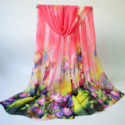 Multicolor Blossom Printed Lightsome Chiffon Gossamer Scarf - PINK