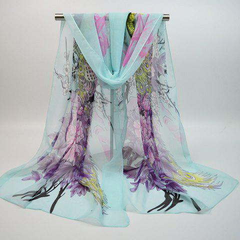 Chiffon Blooming Flowers Peacock Printed Chinoiserie Scarf - WINDSOR BLUE