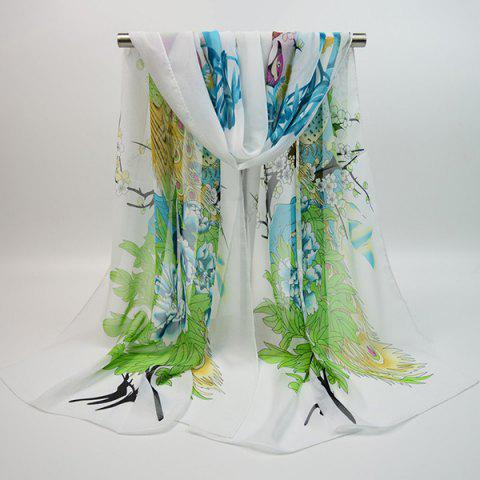 Chiffon Blooming Flowers Peacock Printed Chinoiserie Scarf - WHITE