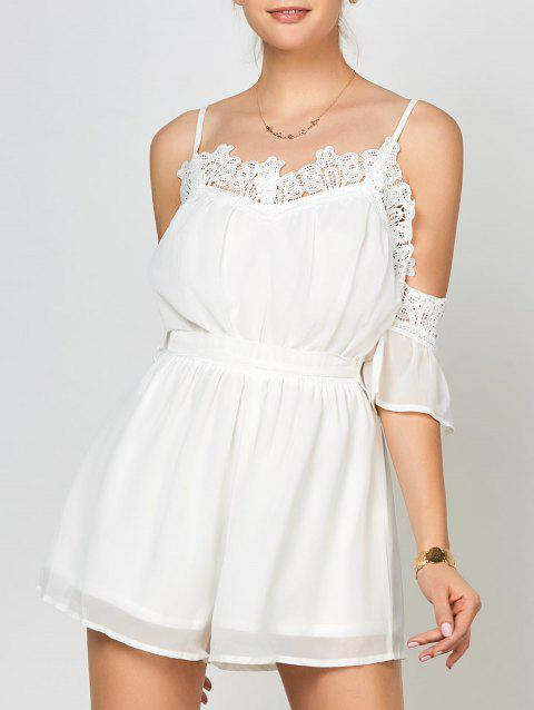 Lace Panel Cold Shoulder Romper - WHITE S