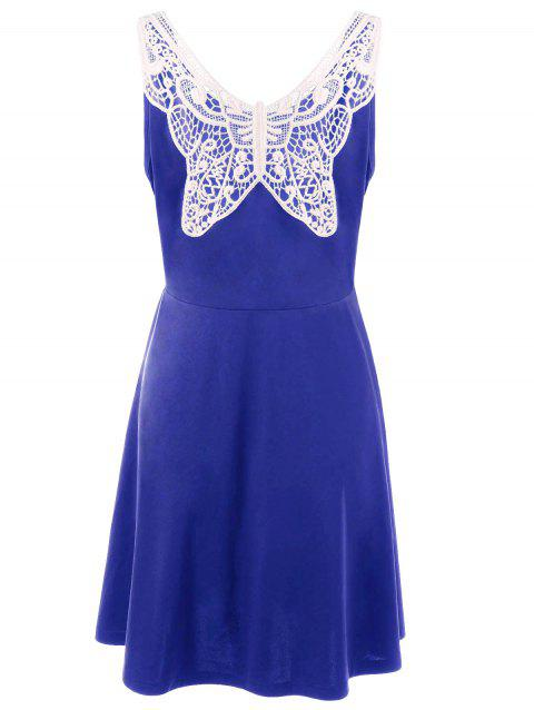 Plus Size Lace Panel Skater Dress - ROYAL 3XL