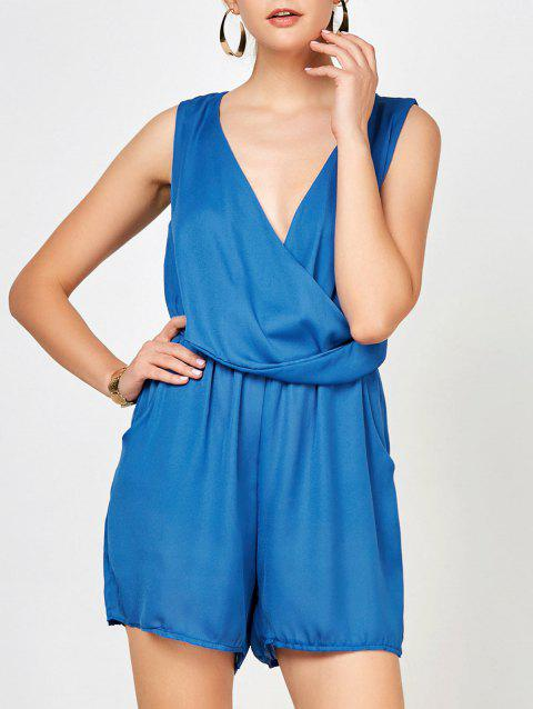 Surplice Ruched Summer Romper with Pockets - BLUE M