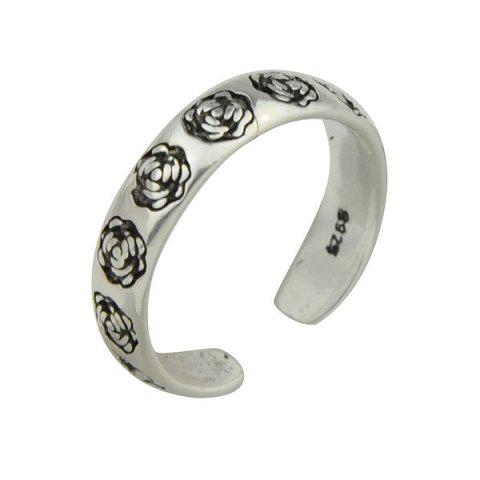 Engraved Rose Flower Cuff Ring - SILVER