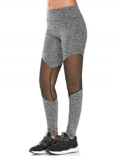 High Rise Sheer Mesh Panel Fitness Leggings - GRAY XL