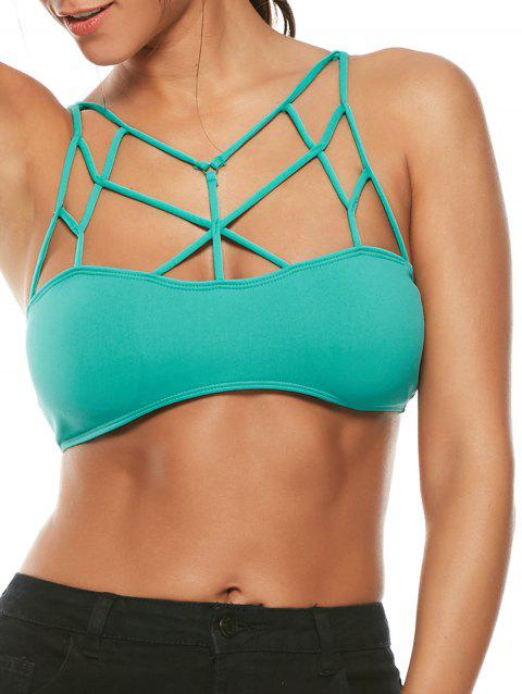 Padded Exotic Cross Strappy Bralette - LIGHT BLUE S