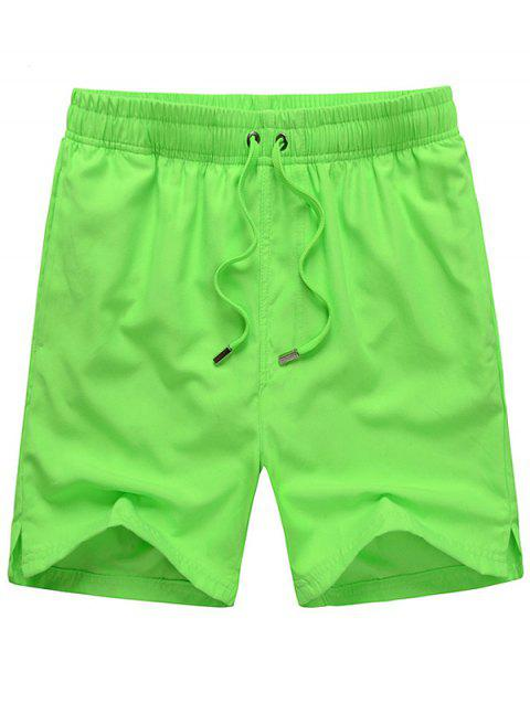 Mesh Lining Hidden Pocket Drawstring Board Shorts - LIGHT GREEN XL