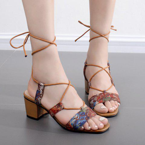 Floral Printed Tie Up Sandals - BROWN 37