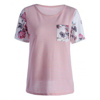 Striped Floral Short Sleeve Pocketed T Shirt