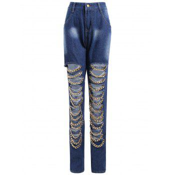 Chain Design Distressed Jeans
