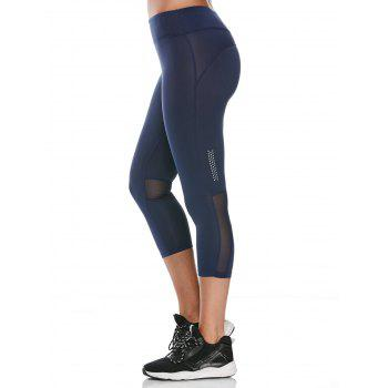 See Through Mesh Panel Cropped Fitness Leggings