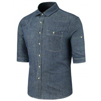 Button Pocket Half Sleeve Denim Shirt